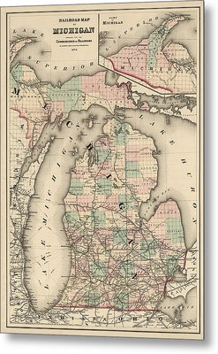 Antique Railroad Map Of Michigan By Colton And Co. - 1876 Metal Print by Blue Monocle