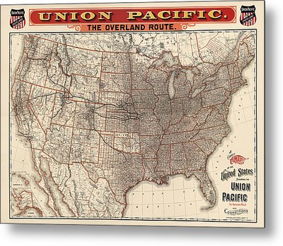 Antique Railroad Map Of The United States - Union Pacific - 1892 Metal Print by Blue Monocle
