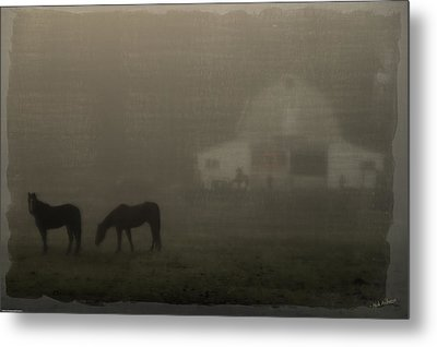 Antique Scene Of Horses In A Fog Metal Print by Mick Anderson