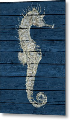 Antique Seahorse On Blue I Metal Print