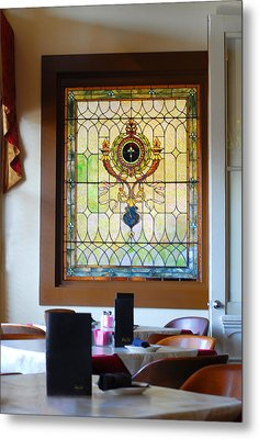 Antique Stained Glass Window At The Ant Street Inn Metal Print by Connie Fox