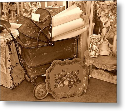 Antique Still Life With Baby Carriage And Other Objects In Sepia Metal Print by Valerie Garner