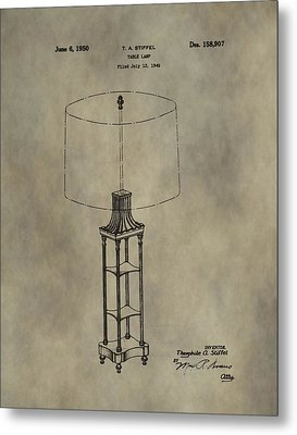 Antique Table Lamp Patent Metal Print