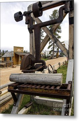 Metal Print featuring the photograph Antique Table Saw Tool Wood Cutting Machine by Paul Fearn