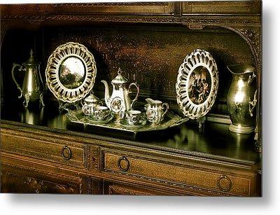 Antique Tea Set Metal Print by The Art of Alice Terrill