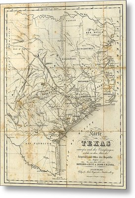 Antique Texas Map 1841 Metal Print by Dan Sproul