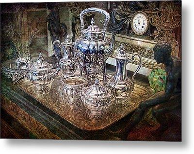 Antique Tiffany Sterling Silver Coffee Tea Set Metal Print