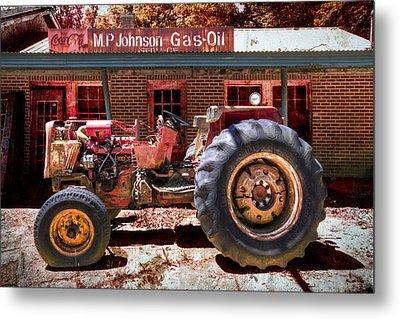Antique Tractor Metal Print by Debra and Dave Vanderlaan