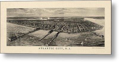 Antique View Of Atlantic City New Jersey - 1905 Metal Print