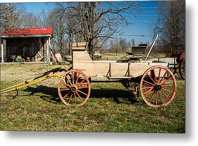 Antique Wagon And Mountain Cabin 1 Metal Print by Douglas Barnett