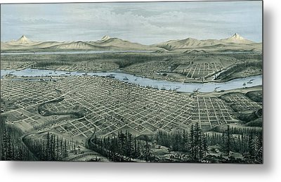 Antique Wall Map Of Portland Metal Print
