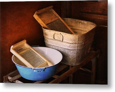 Antique Wash Tubs Metal Print by Maria Angelica Maira