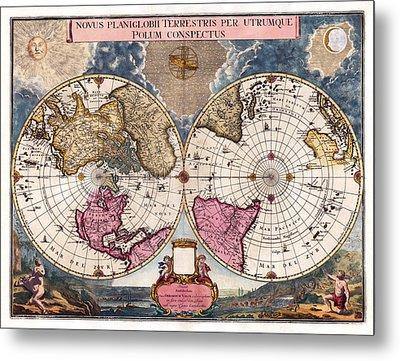 Metal Print featuring the photograph Antique World Map 1695 Novus Planiglobii Terrestris Per Utrumque Polum Conspectus by Karon Melillo DeVega