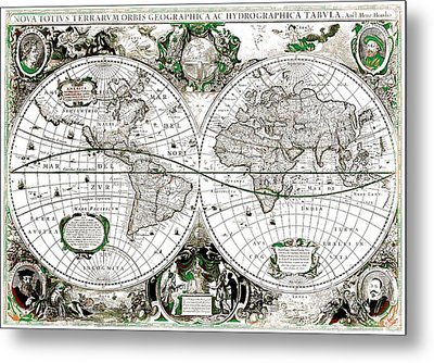 Antique World Map Poster Metal Print by Dan Sproul