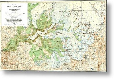 Antique Yosemite National Park Map Metal Print