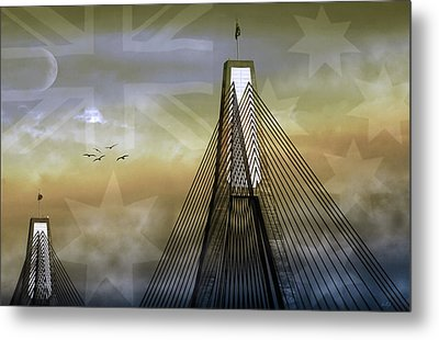 Metal Print featuring the photograph Anzac Bridge by Holly Kempe