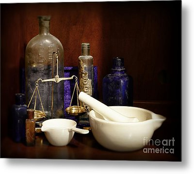 Apothecary - Mortar Pestle And Scales Metal Print