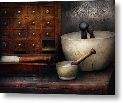 Apothecary - Pestle And Drawers Metal Print by Mike Savad