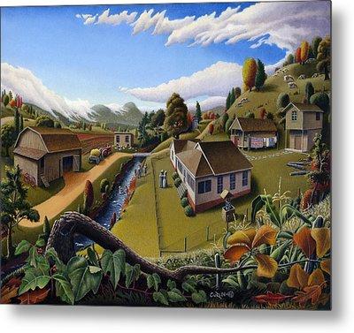 Appalachia Summer Farming Landscape - Appalachian Country Farm Life Scene - Rural Americana Metal Print by Walt Curlee