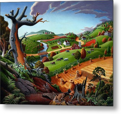 Appalachian Fall Thanksgiving Wheat Field Harvest Farm Landscape Painting - Rural Americana - Autumn Metal Print by Walt Curlee
