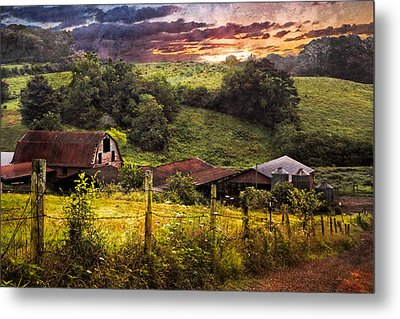 Appalachian Mountain Farm Metal Print by Debra and Dave Vanderlaan