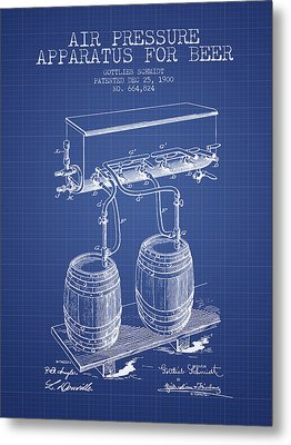 Apparatus For Beer Patent From 1900 - Blueprint Metal Print