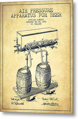 Apparatus For Beer Patent From 1900 - Vintage Metal Print by Aged Pixel