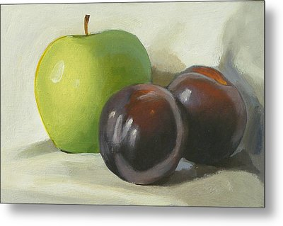 Apple And Plums Metal Print by Peter Orrock