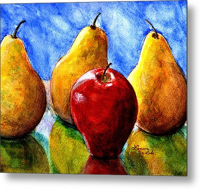 Metal Print featuring the painting Apple And Three Pears Still Life by Lenora  De Lude