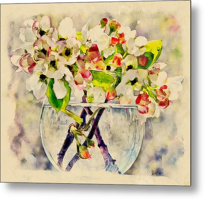 Apple Flowers In Glass Jar Metal Print by Yury Malkov