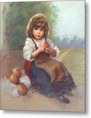 Apple Girl Metal Print by Janet McGrath