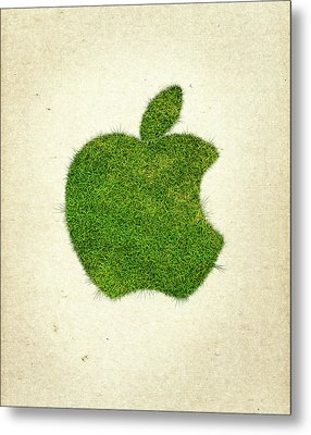 Apple Grass Logo Metal Print by Aged Pixel