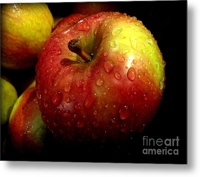 Apple In The Rain Metal Print