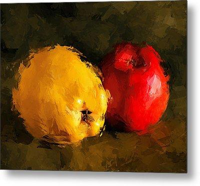 Apple Lemon Still Life Metal Print by Yury Malkov