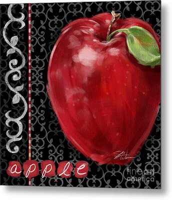 Apple On Black And White Metal Print by Shari Warren