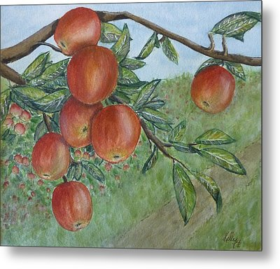 Metal Print featuring the painting Apple Orchard by Kelly Mills