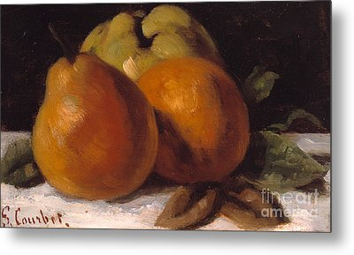 Apple Pear And Orange Metal Print