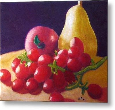 Apple Pear Grapes Metal Print
