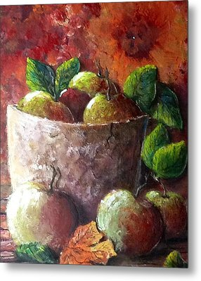 Metal Print featuring the painting Apple Picking Time by Megan Walsh