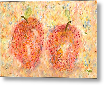 Metal Print featuring the painting Apple Twins by Paula Ayers