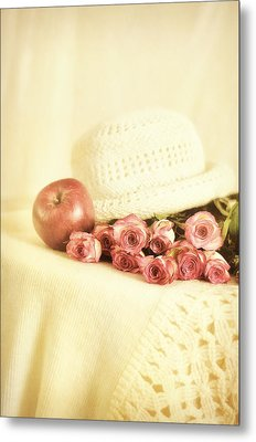 Apple With Roses Metal Print by Gynt Art