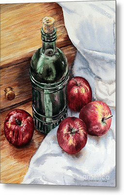 Metal Print featuring the painting Apples And A Bottle Of Liqueur by Joey Agbayani