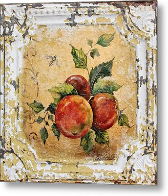 Apples And Bee On Vintage Tin Metal Print by Jean Plout
