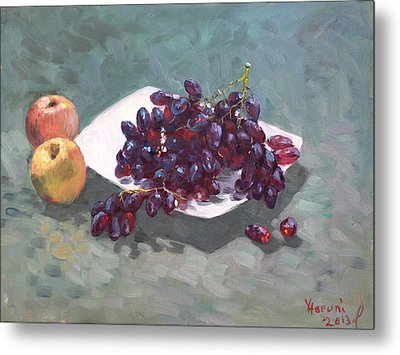 Apples And Grapes Metal Print by Ylli Haruni