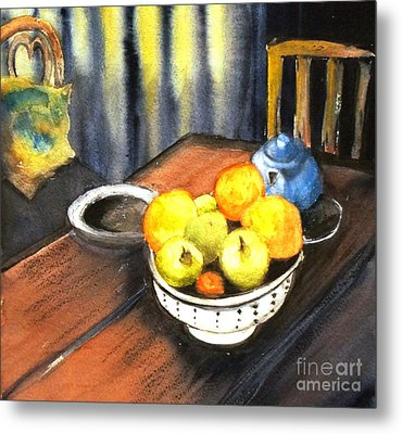 Apples And Oranges - Original Sold Metal Print by Therese Alcorn