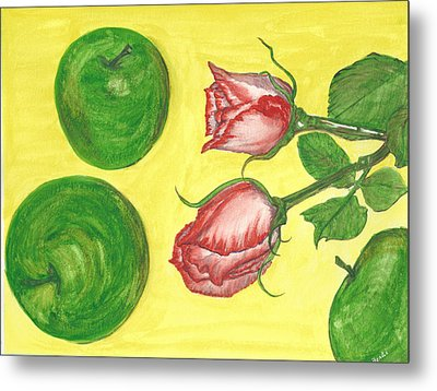 Apples And Roses Metal Print