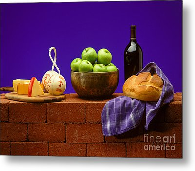 Apples Bread And Cheese Metal Print by Craig Lovell