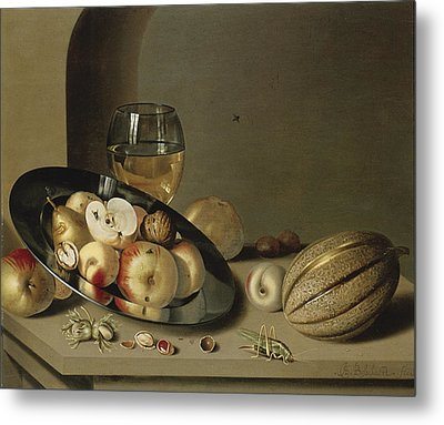 Apples Pears Peaches And Walnuts Metal Print by Ambrosius Bosschaert the Younger