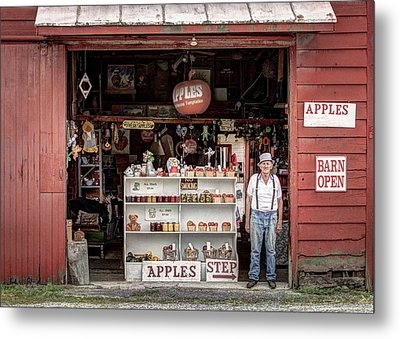 Apples. The Natural Temptation - Farmer And Old Farm Signs Metal Print by Gary Heller
