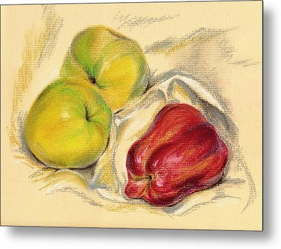 Metal Print featuring the pastel Apples - Yellow And Red by MM Anderson